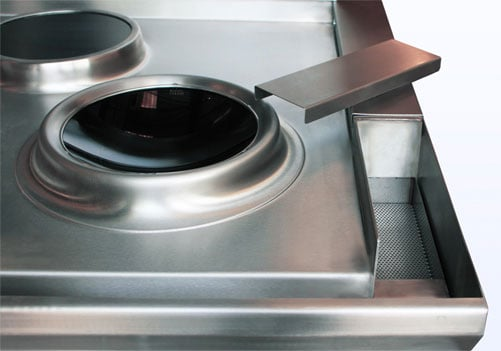 induction wok cooker waste system